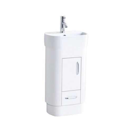 Apollo White Gloss Floor Standing Cabinet & Basin - 1 Tap Hole